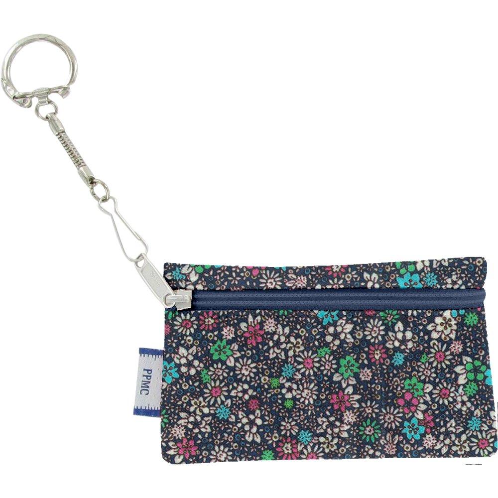 Pochette porte-clés milli fleurs vert azur