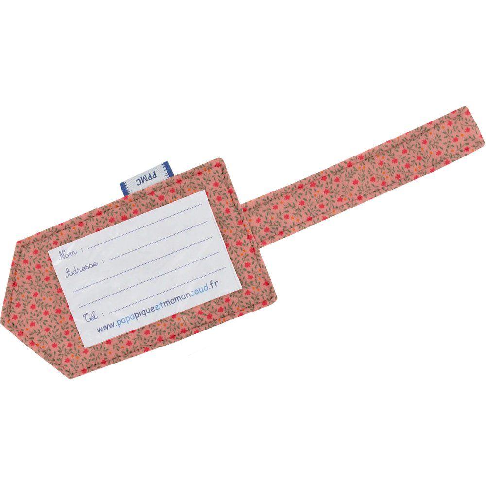 Etiquette bagage mini fleur rose