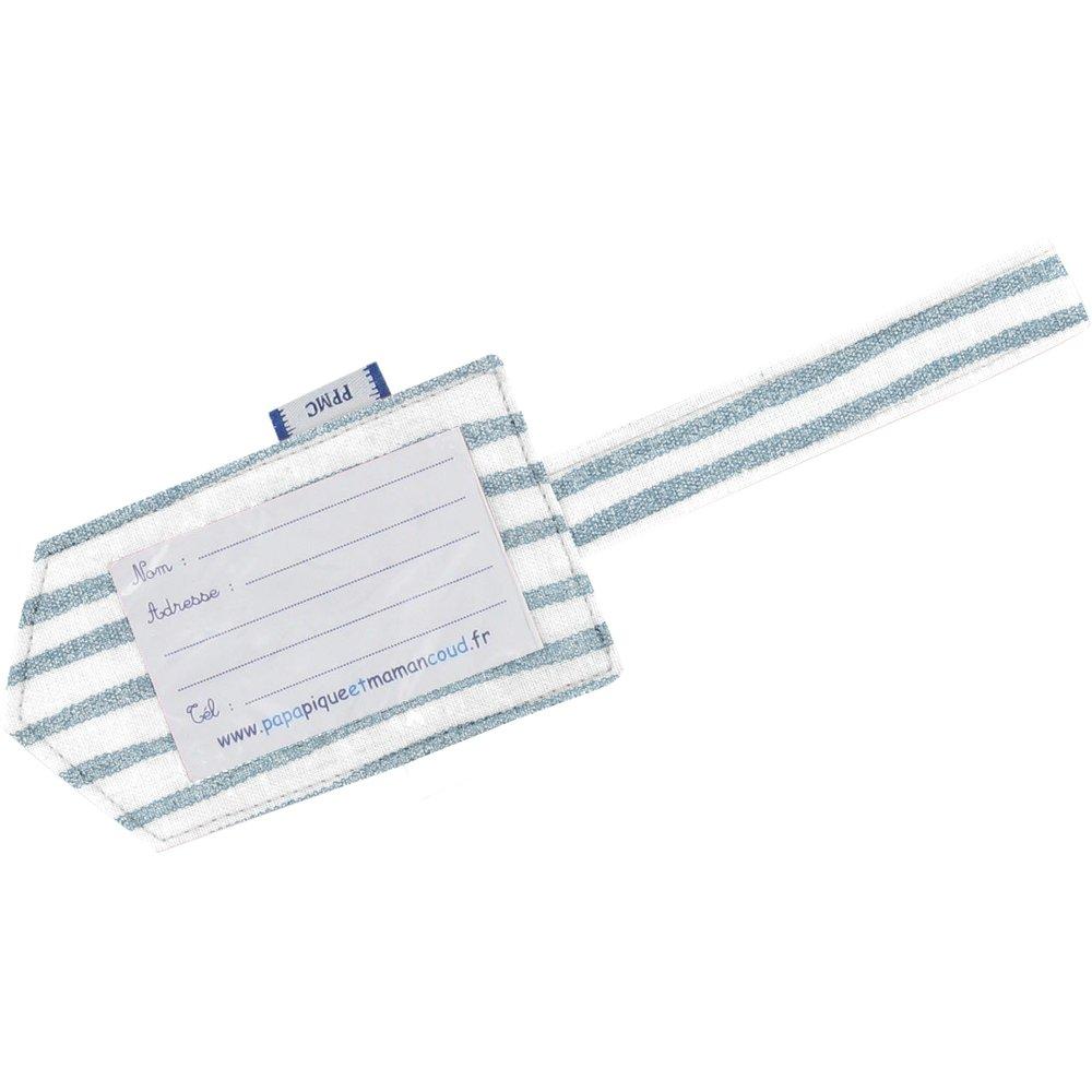Etiquette bagage rayé bleu blanc