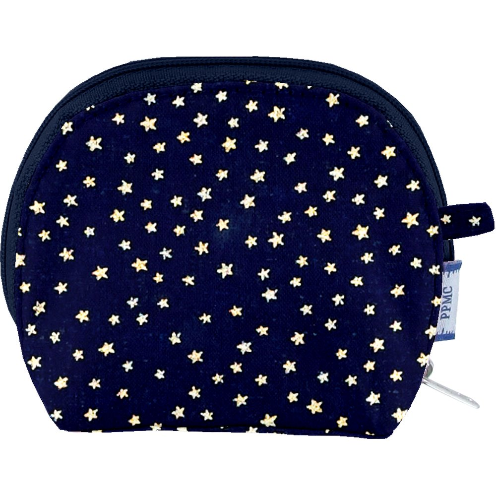 gusset coin purse navy gold star