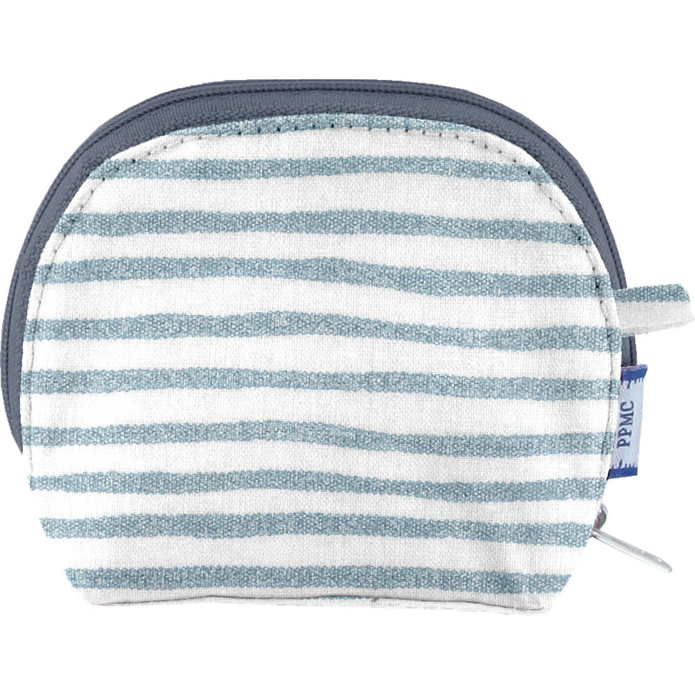 gusset coin purse striped blue gray glitter