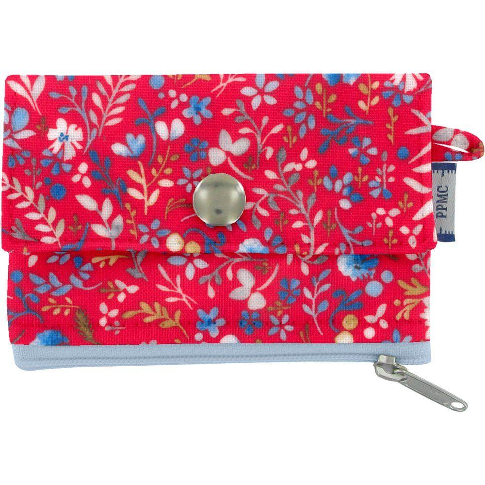 zipper pouch card purse cherry cornflower