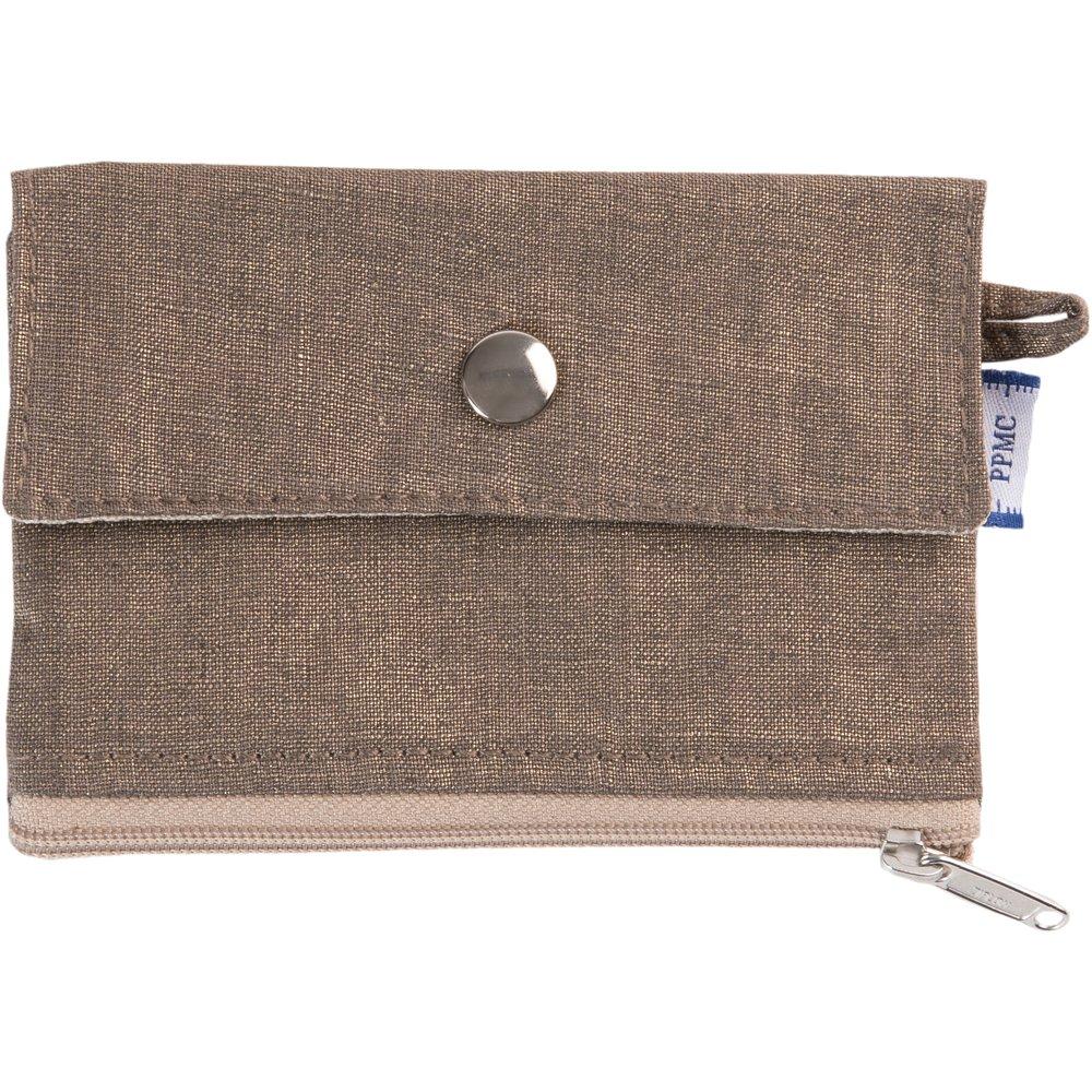 zipper pouch card purse copper linen