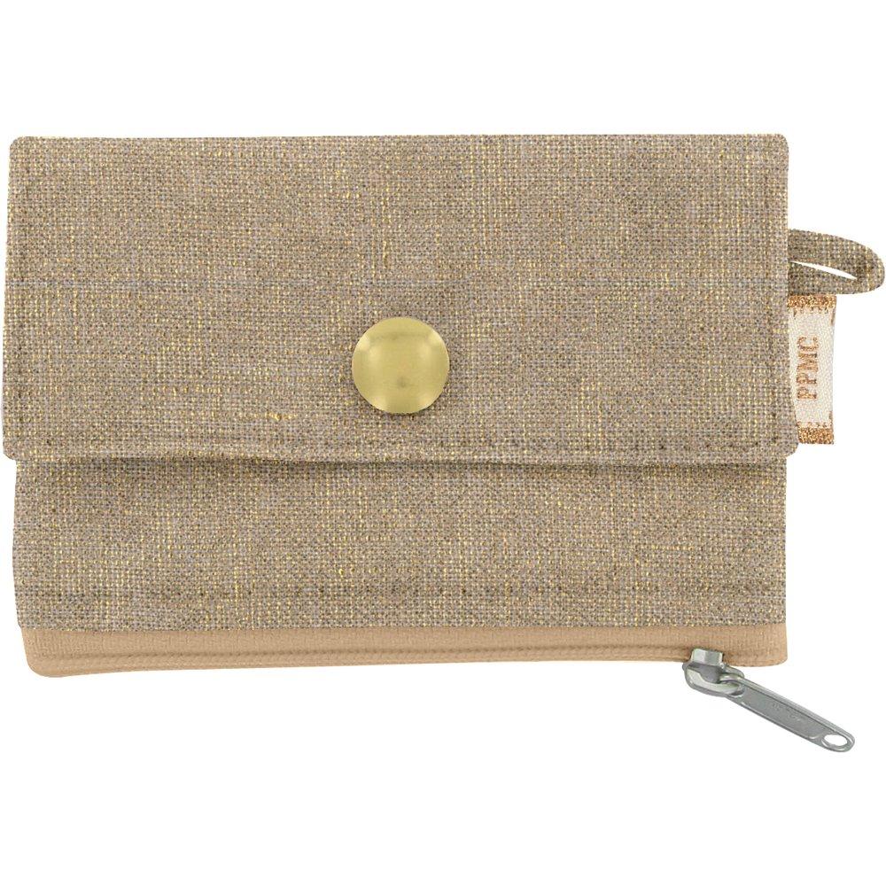 Mini pochette porte-monnaie lin doré