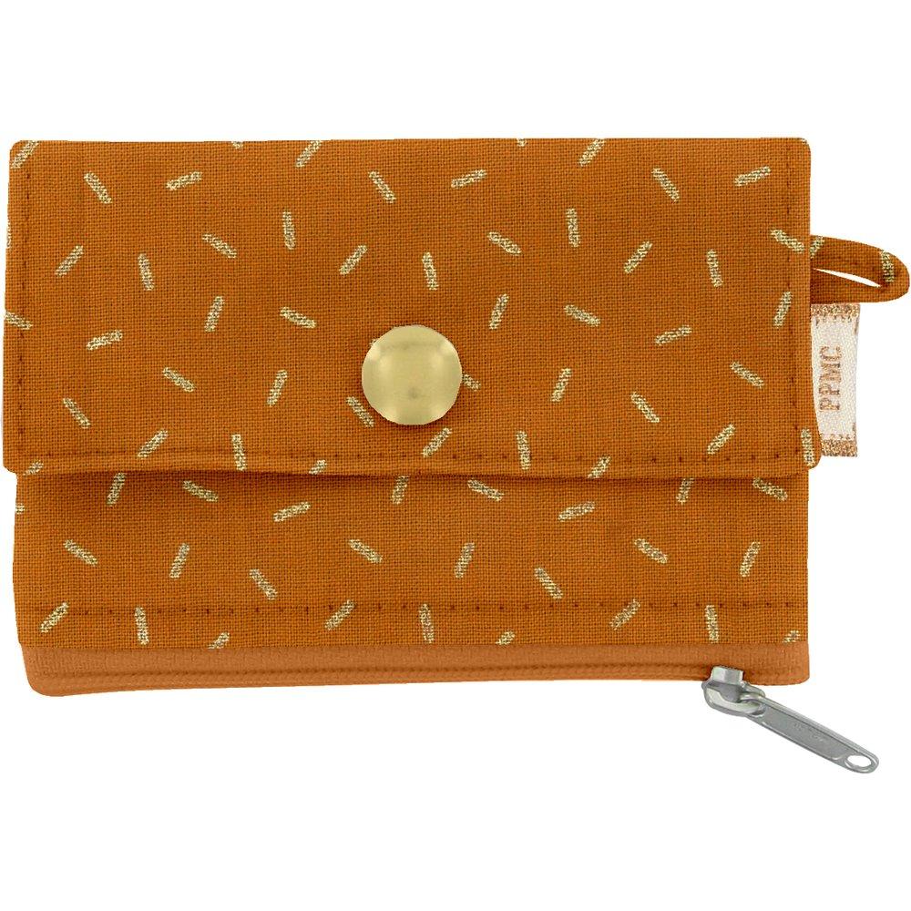 Mini pochette porte-monnaie paille dorée caramel