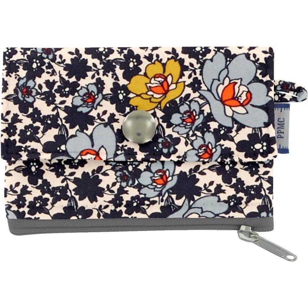 zipper pouch card purse ochre flower