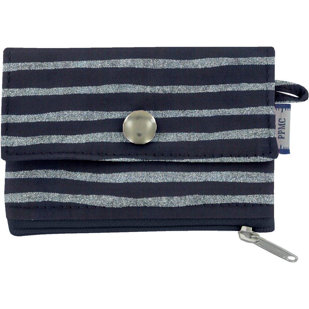 zipper pouch card purse striped silver dark blue