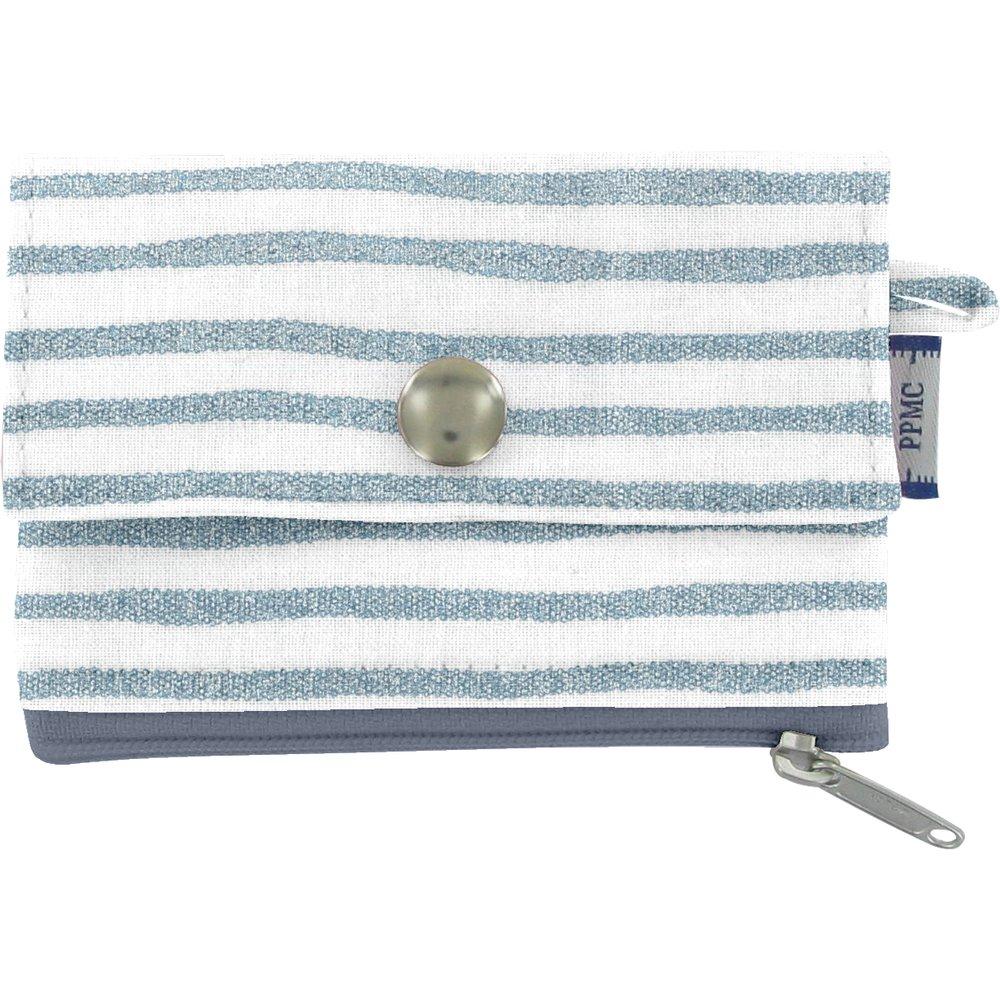 zipper pouch card purse striped blue gray glitter