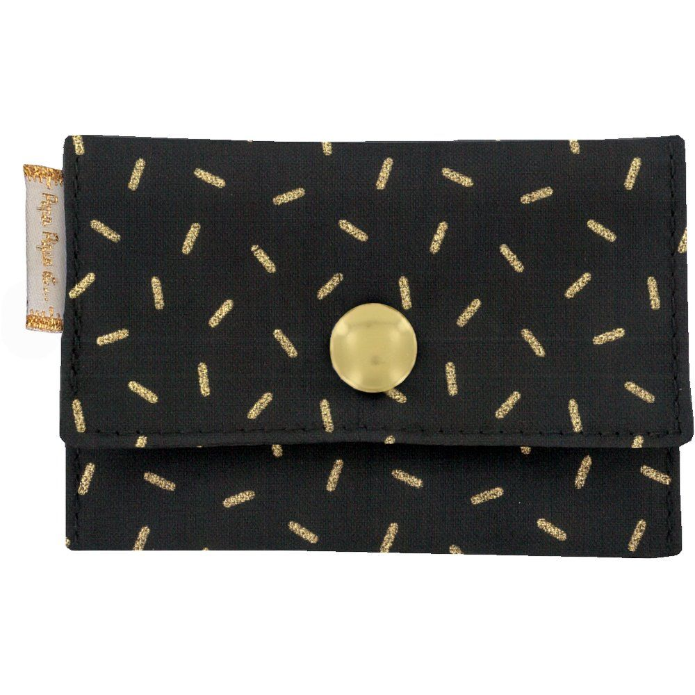 Porte multi-cartes  paille dorée noir