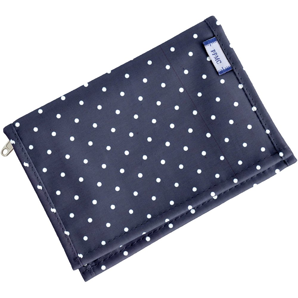 Portefeuille compact pois marine