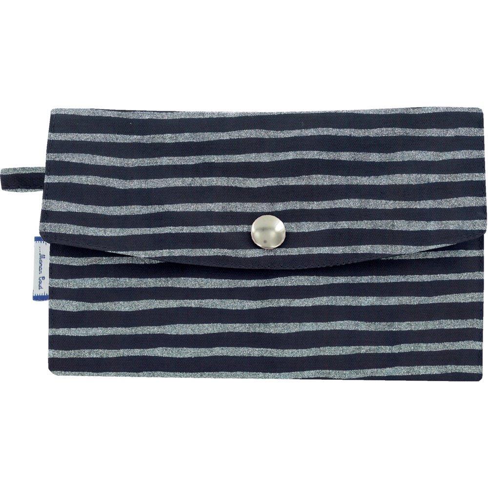 Wallet striped silver dark blue