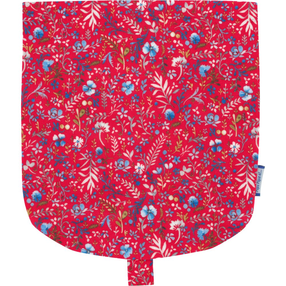 Flap of small shoulder bag cherry cornflower