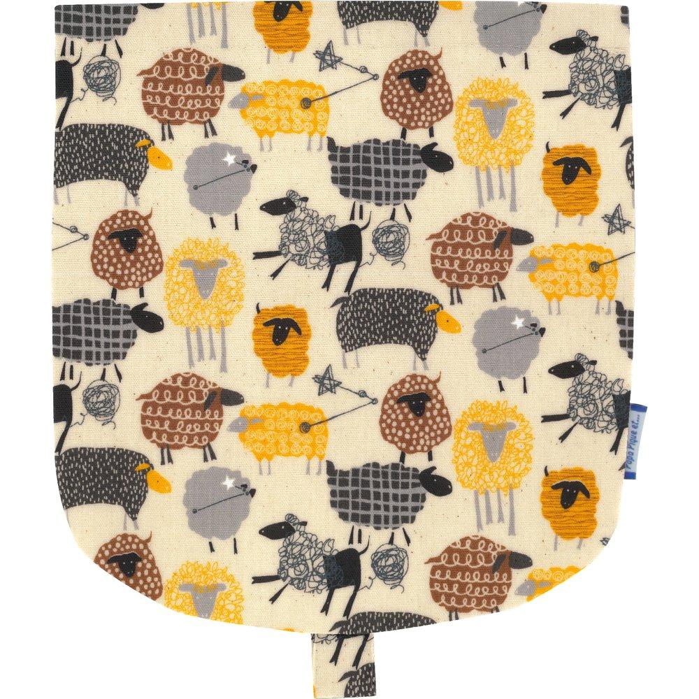 Flap of small shoulder bag yellow sheep