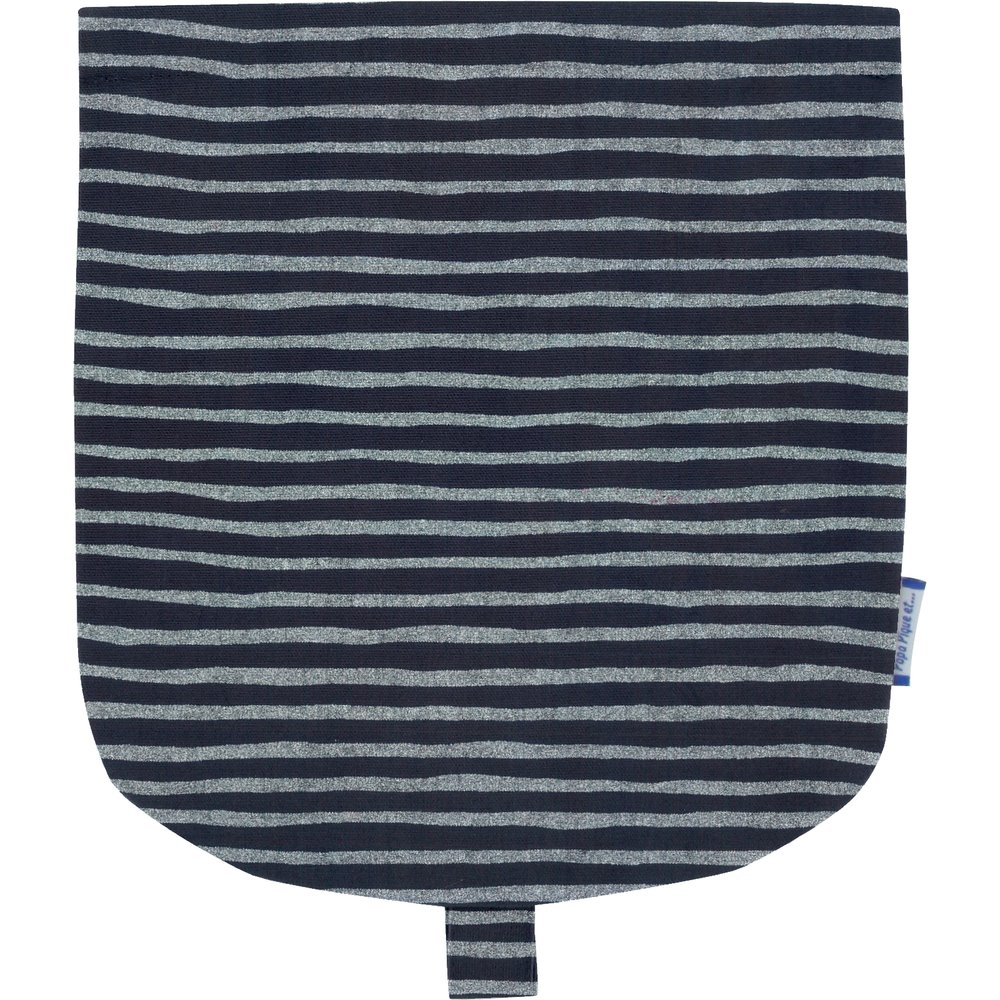 Flap of small shoulder bag striped silver dark blue