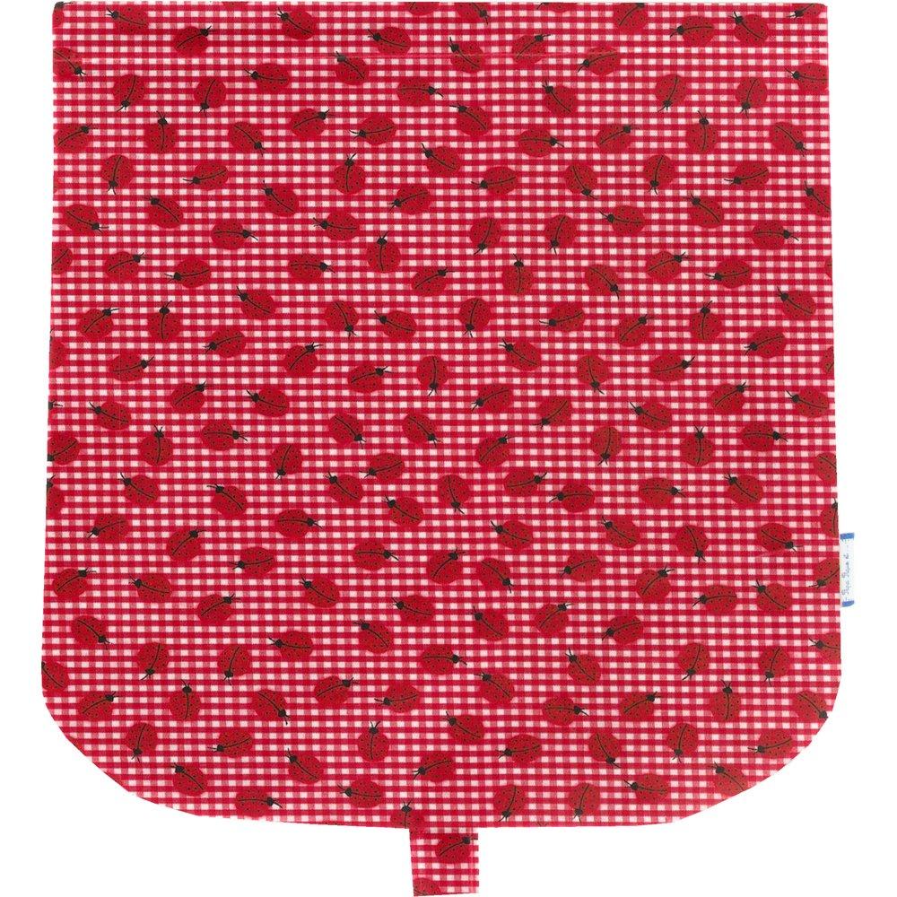 Tapa de bolso cruzado cuadros vichy rojo y mariquitas