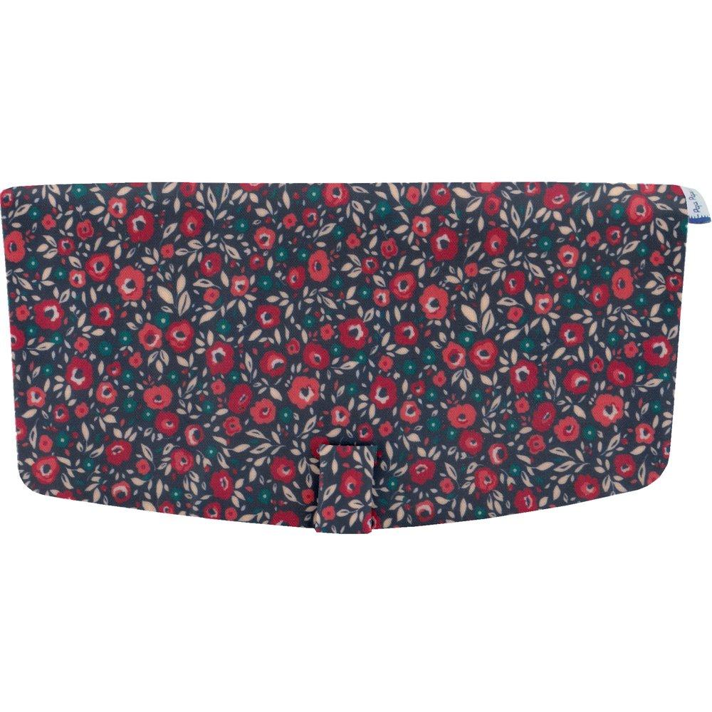 Flap of shoulder bag camelias rubis