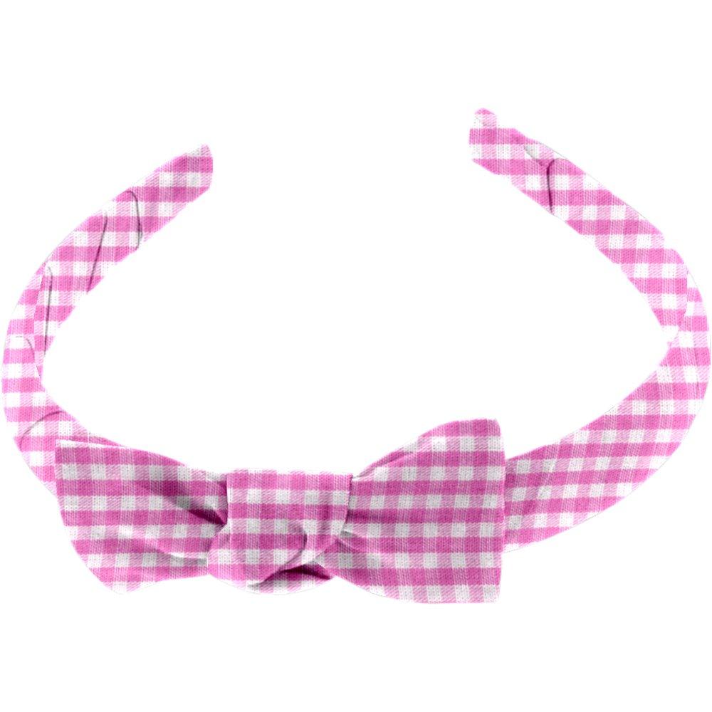 Medium headband fuschia gingham