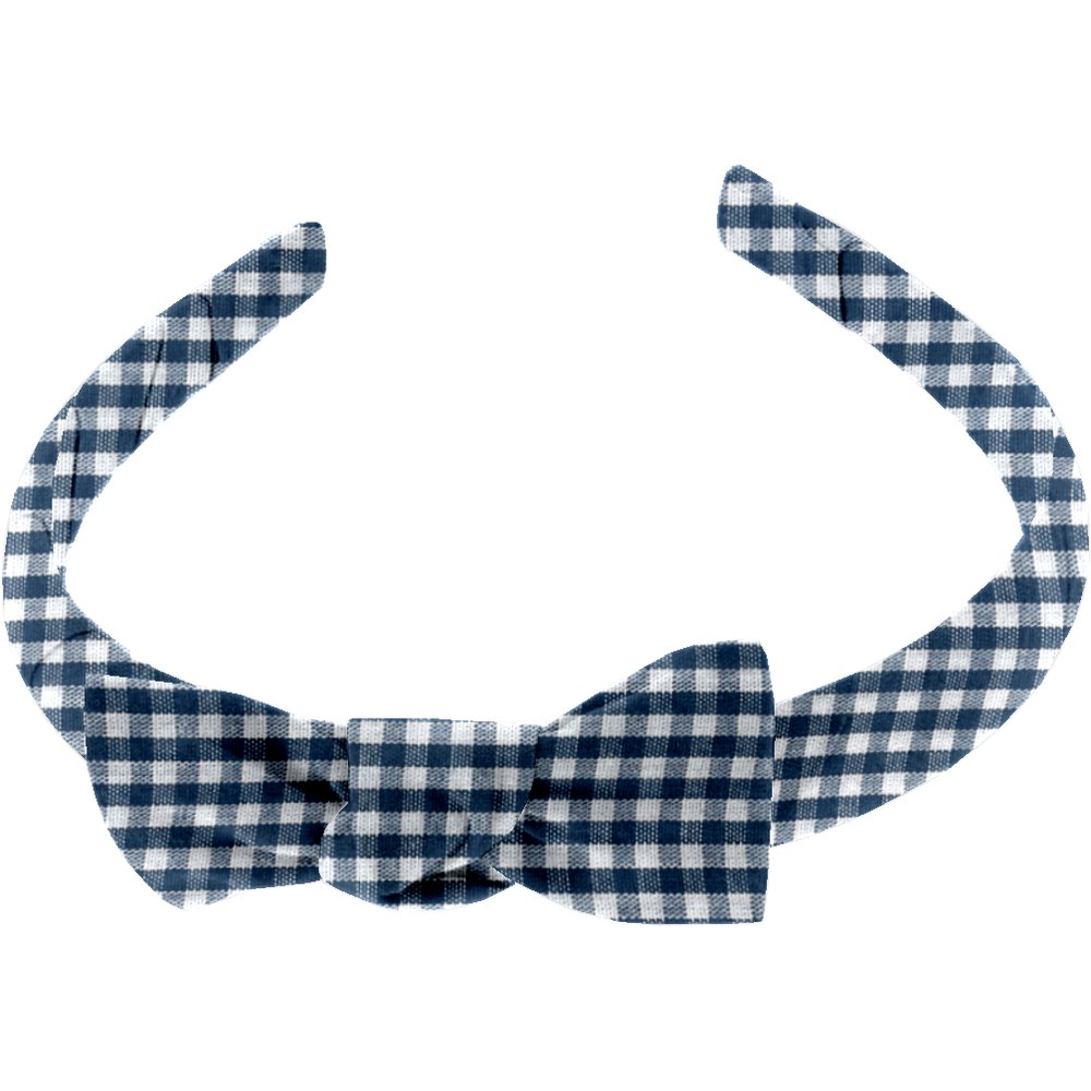 Medium headband navy blue gingham