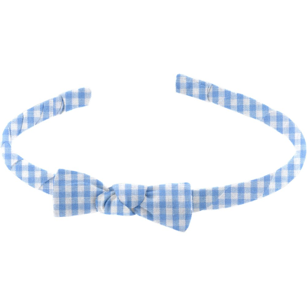 Thin headband sky blue gingham