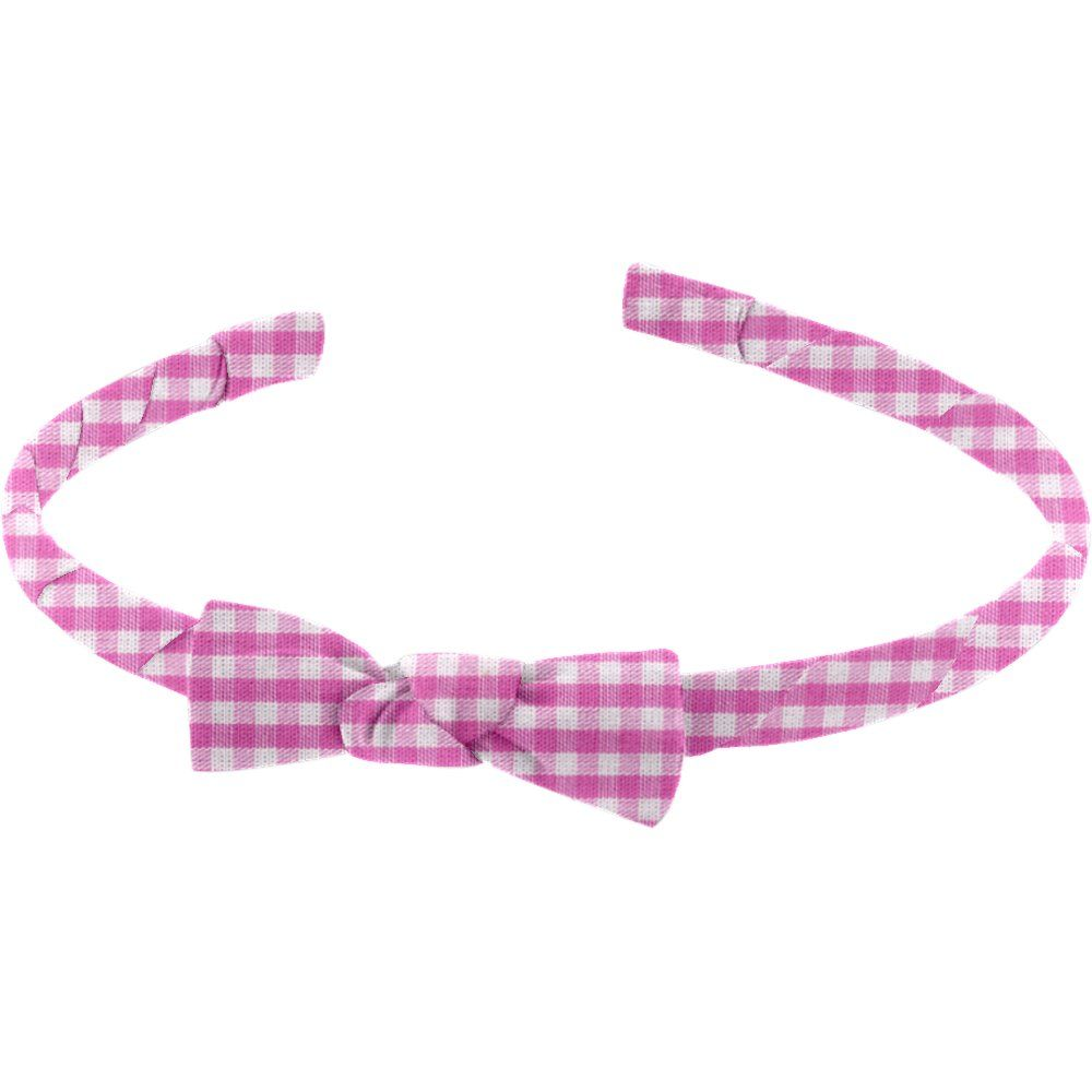 Thin headband fuschia gingham