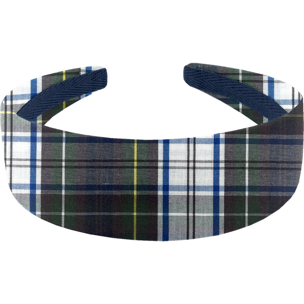 Wide headband green and white tartan