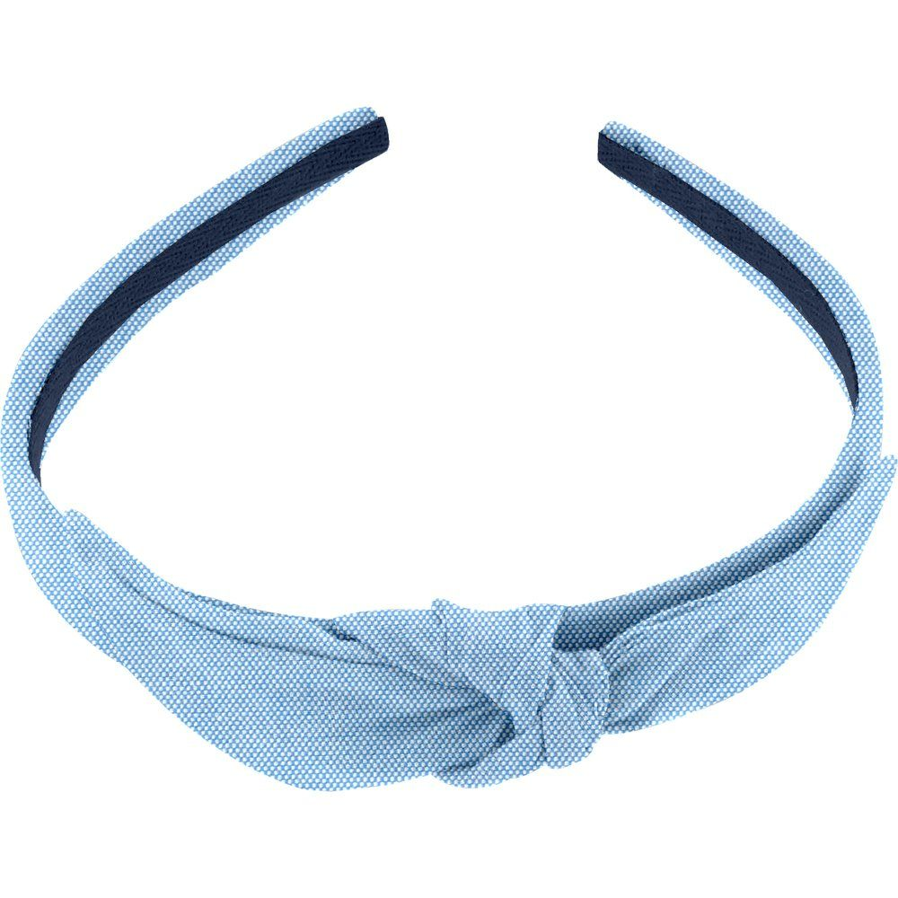 bow headband oxford blue