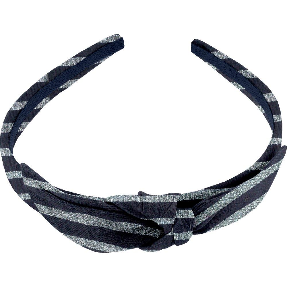 bow headband striped silver dark blue