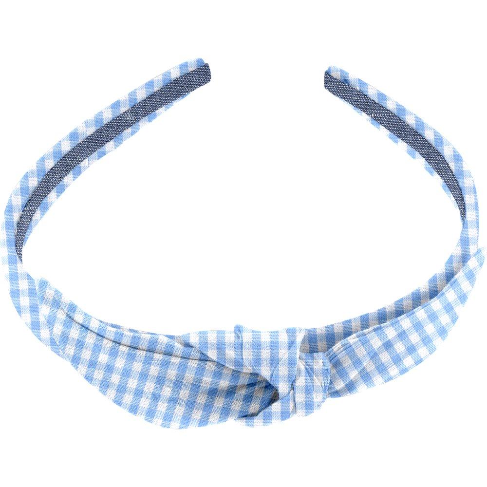 bow headband sky blue gingham