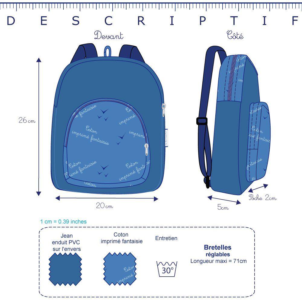 Petit sac à dos  jean verso