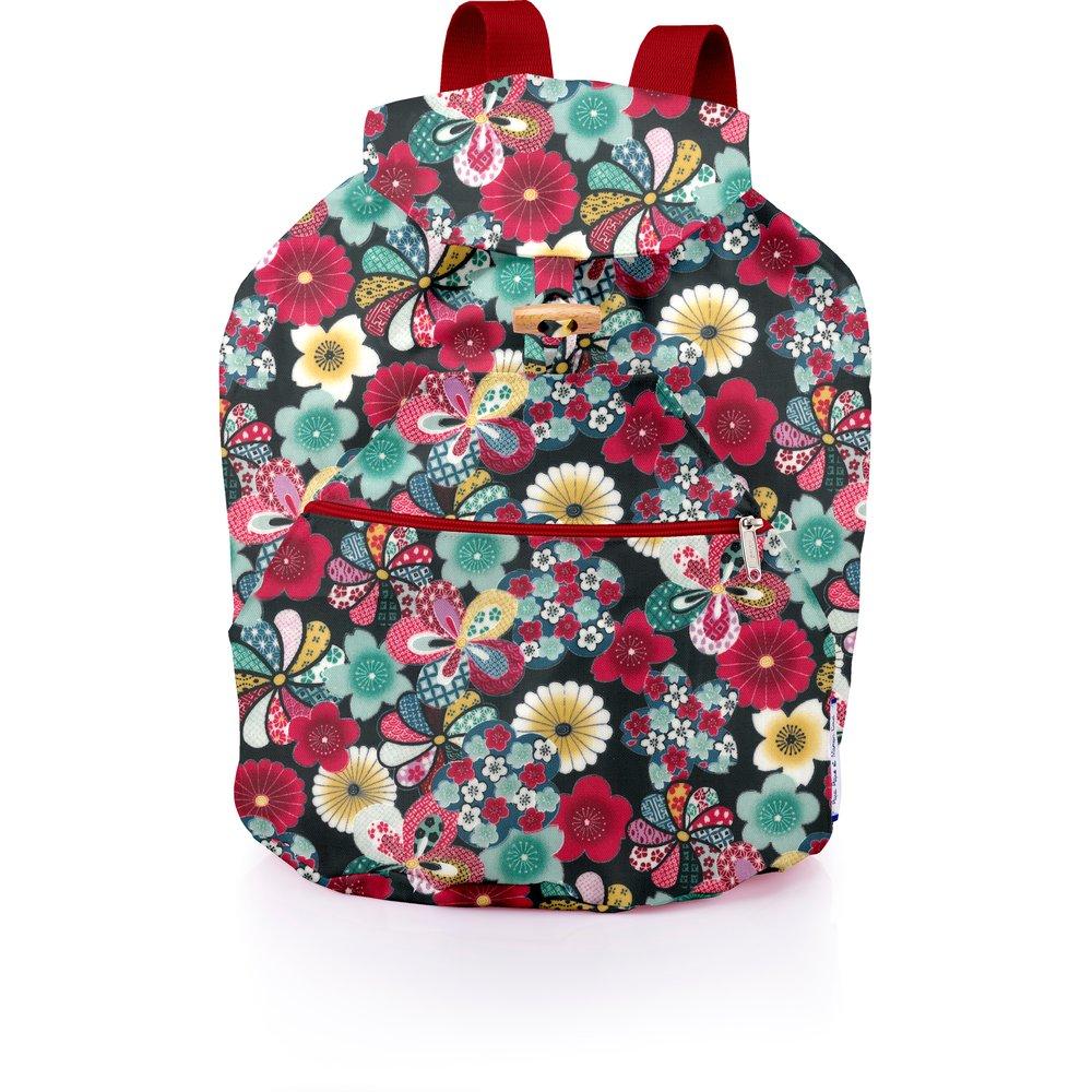 Petit sac à dos plastifié fleurs du mékong