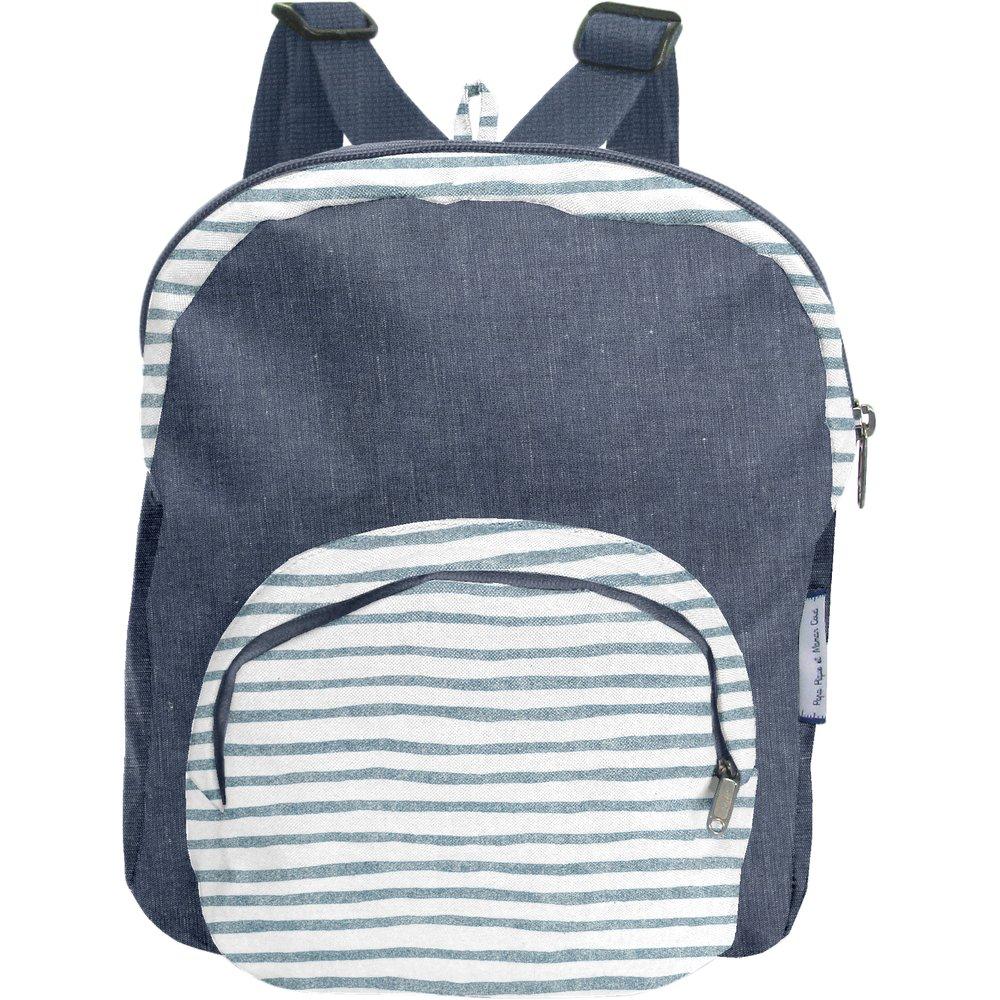 Petit sac à dos  rayé bleu blanc