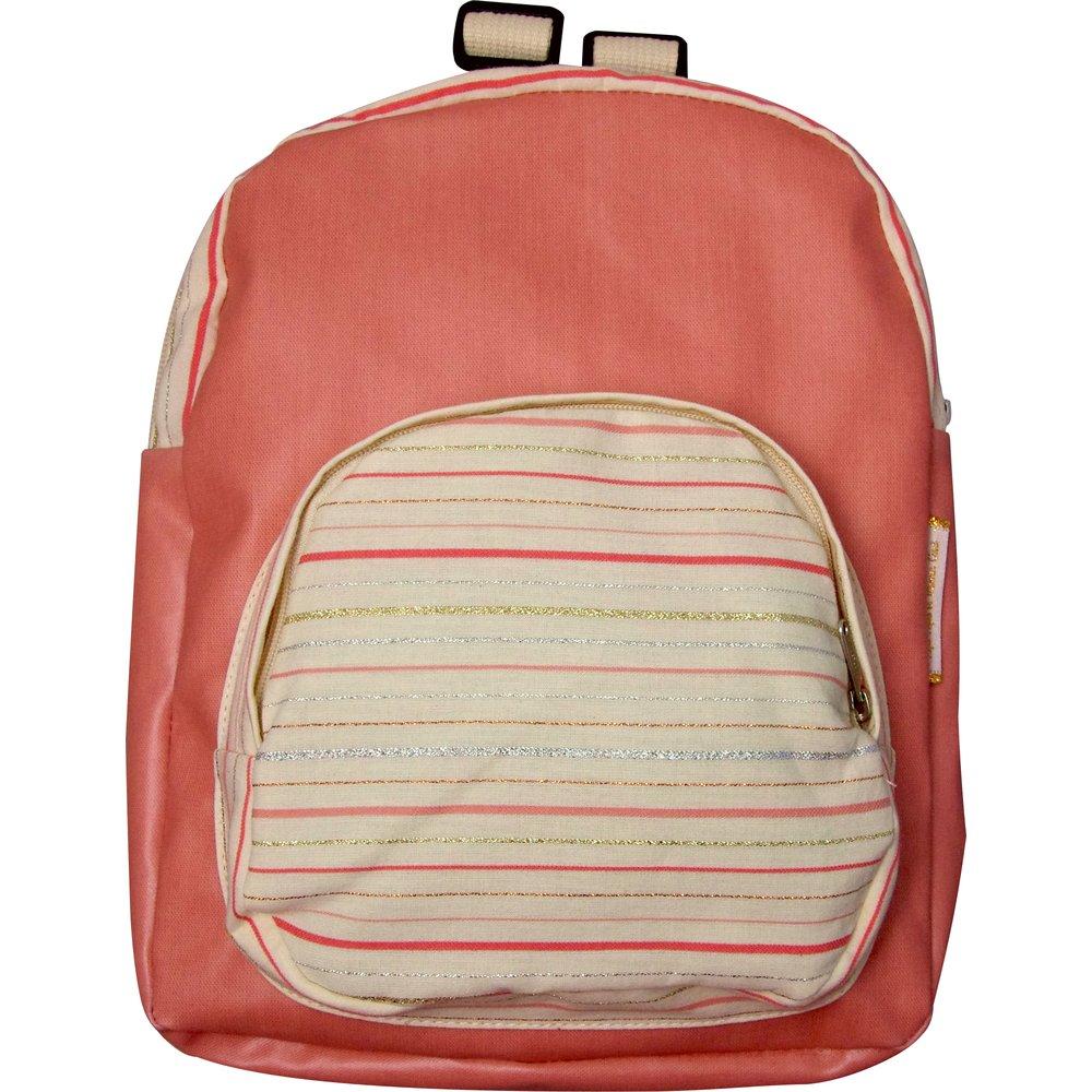 Petit sac à dos  rayé rose argent