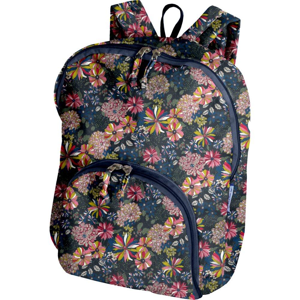 Foldable rucksack  pink blue dalhia