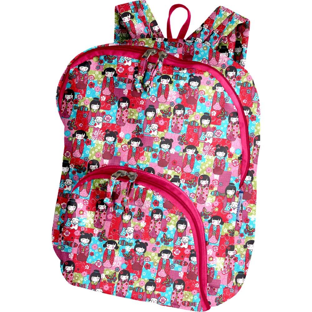 Foldable rucksack  kokeshis