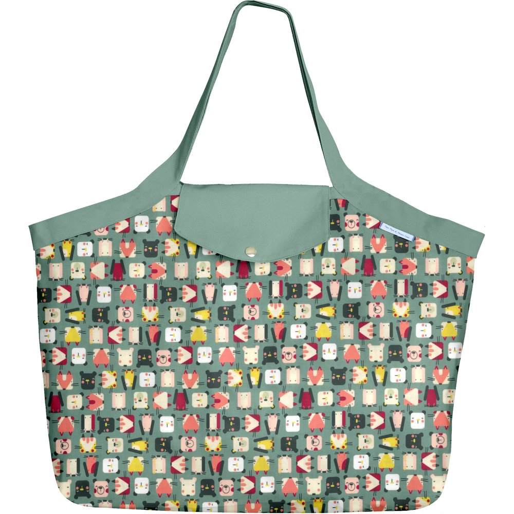 Tote bag with a zip animals cube