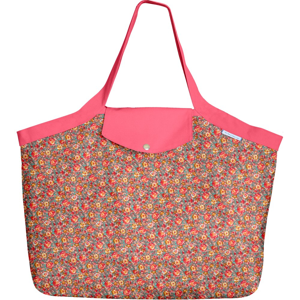 Tote bag with a zip peach flower