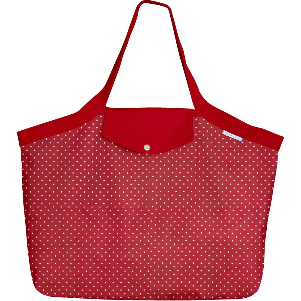 Tote bag with a zip red spots