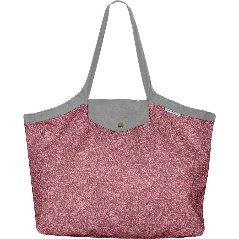 Sac cabas taille moyenne plissé lichen prune rose