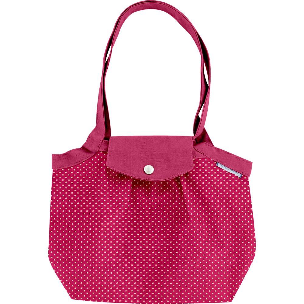 Petit sac cabas plissé etoile or fuchsia