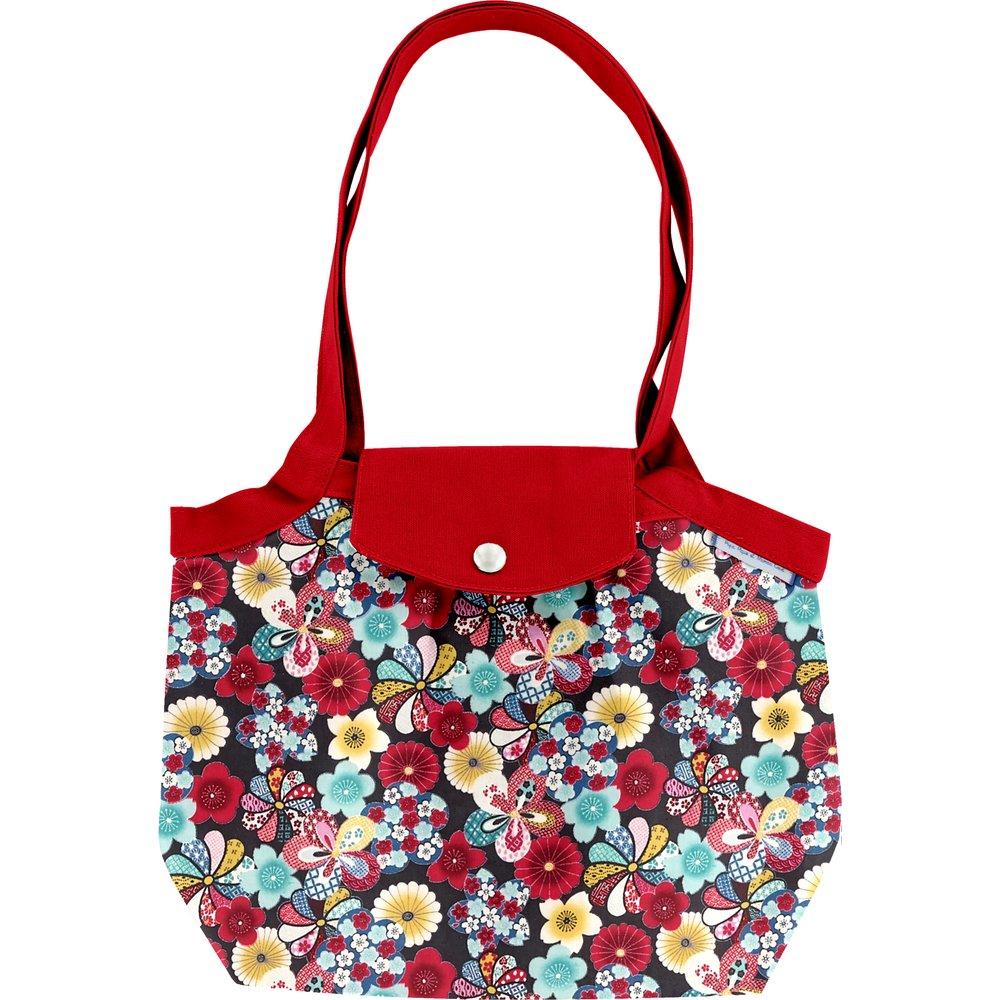 Petit sac cabas plissé fleurs du mékong