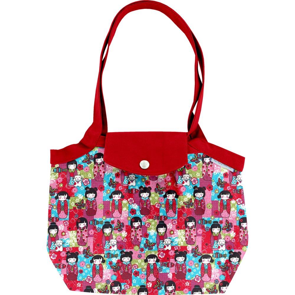 Petit sac cabas plissé kokeshis