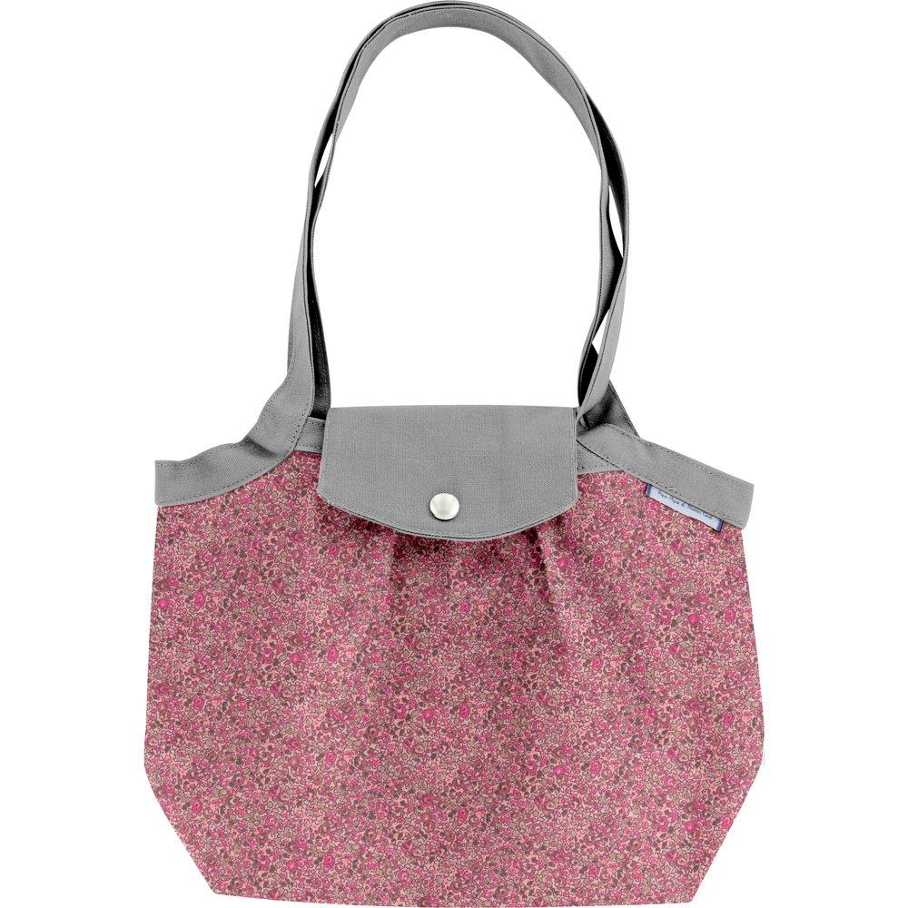 Petit sac cabas plissé lichen prune rose