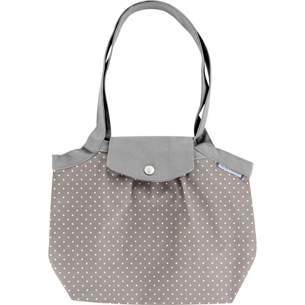 Petit sac cabas plissé pois gris clair