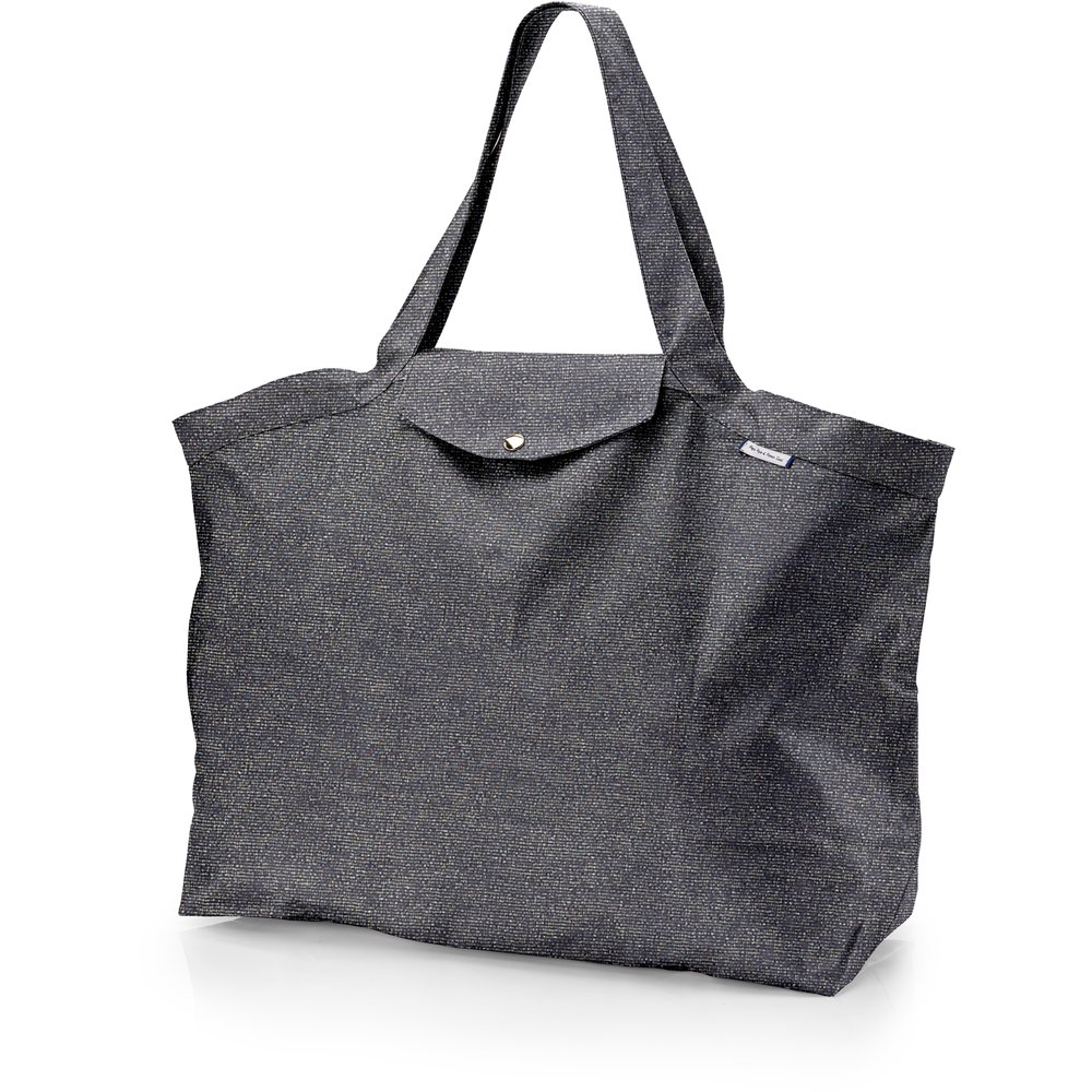 Grand sac cabas en tissu anthracite argent