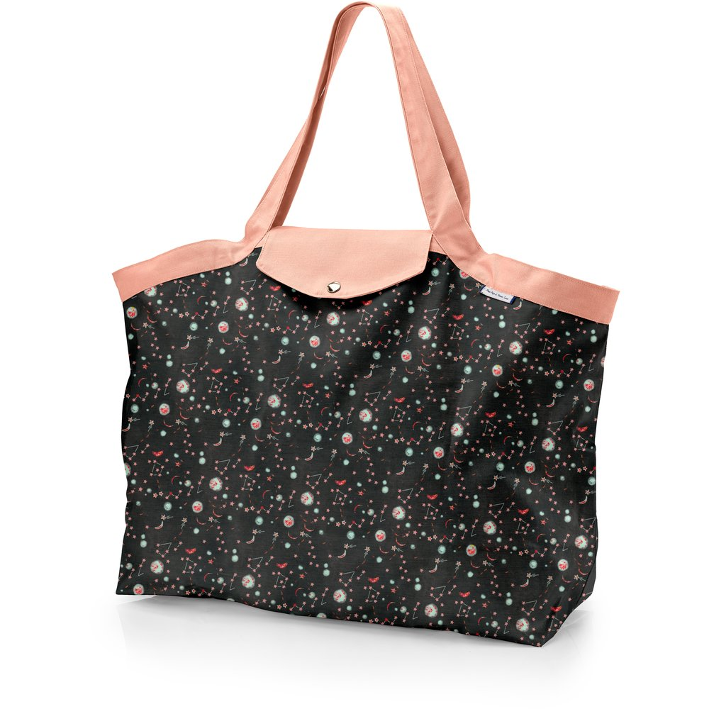 Grand sac cabas en tissu constellations