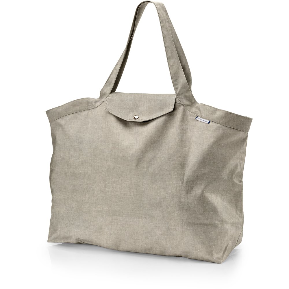 Tote bag with a zip silver linen