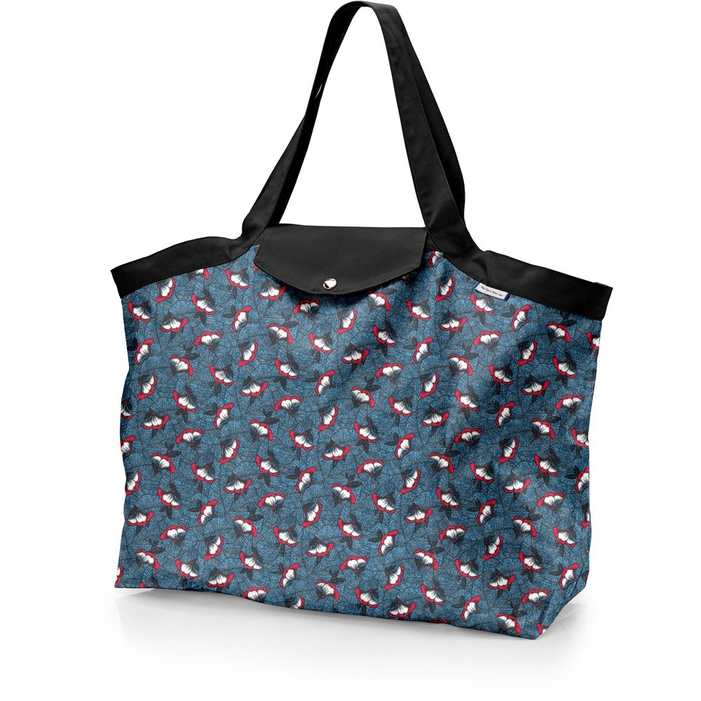Tote bag with a zip flowered night