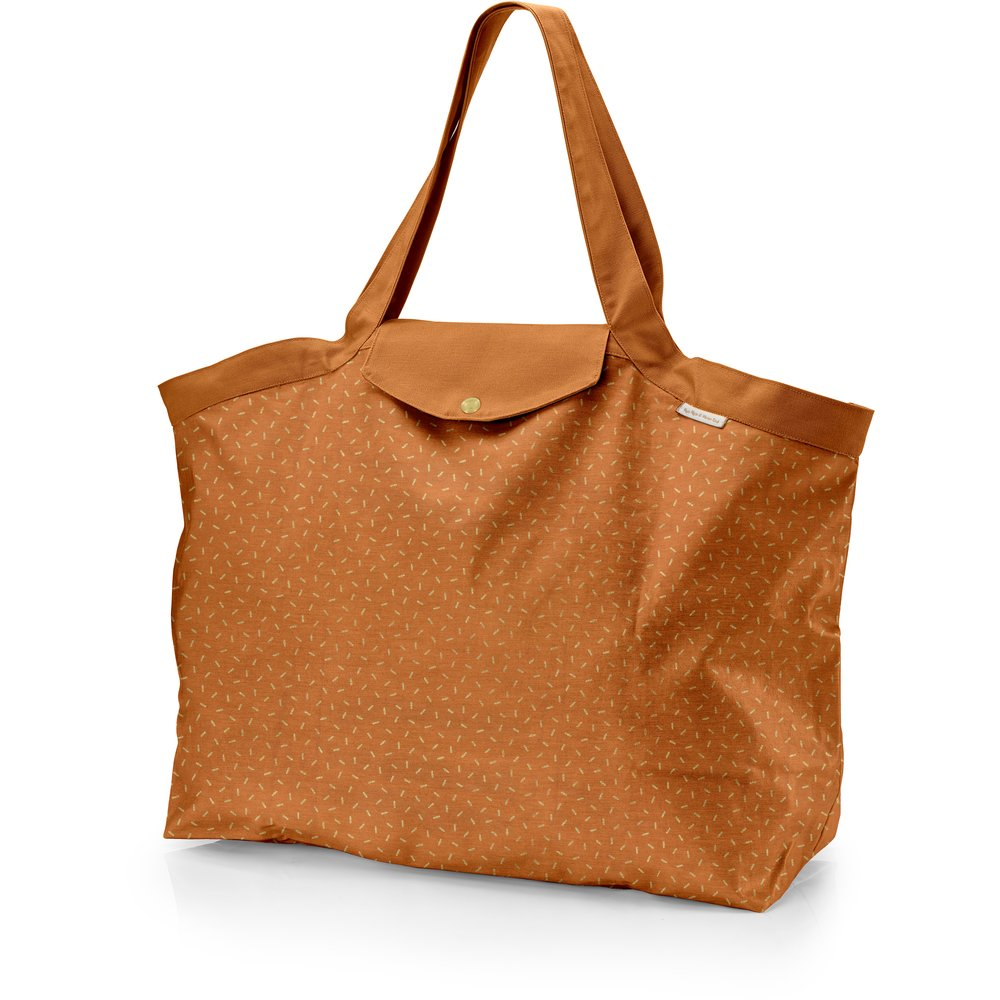 Tote bag with a zip caramel golden straw