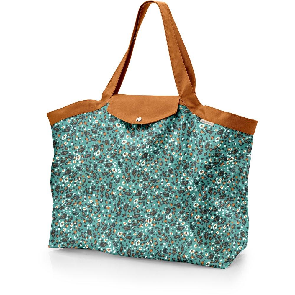 Grand sac cabas en tissu panthère jade