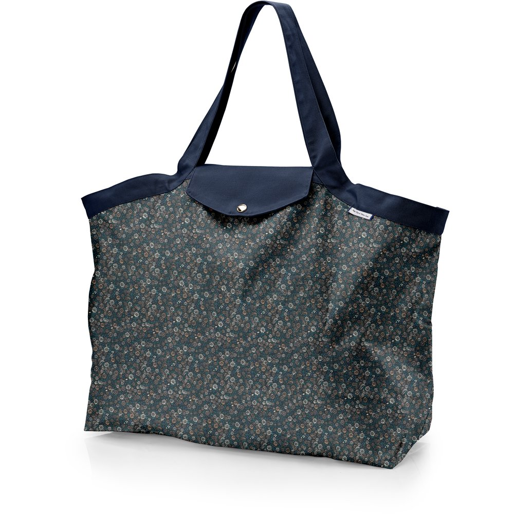 Tote bag with a zip paquerette marine